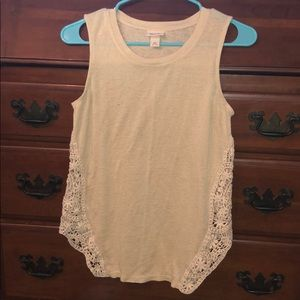 Cream tank top with lace details